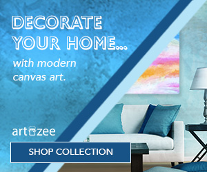 ArtzeeDesigns.com offers modern canvas art with custom options available.