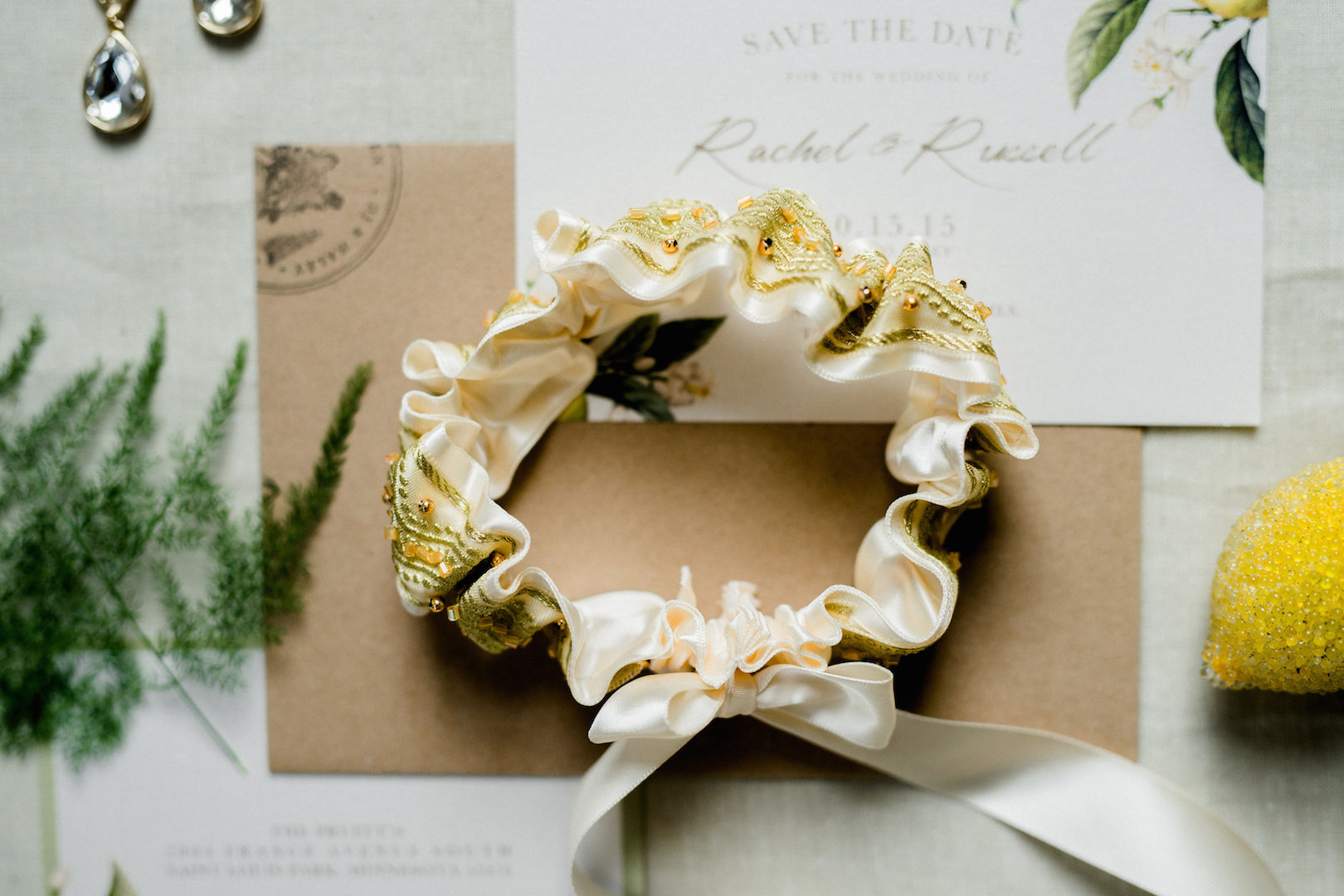 Gold Garter - Citrus Wedding Details