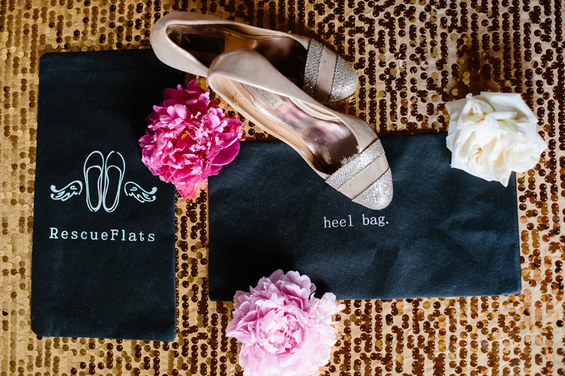 Rescue Flats | rescueflats.com | Luxury Dancing Slipper Wedding Favors | Heel Bags