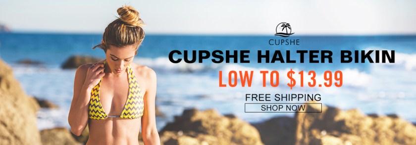 Cupshe Halter Bikin! Low to $13.99! Free Shipping! Shop Now!