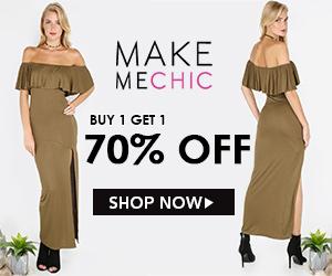 BOGO Sale! Buy 1, Get 1 70% off at MakeMeChic.com. Sale ends October 17th