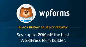 WPForms Black Friday Discount 2021: Save up to 70%🔥 2