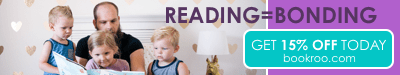 Reading = Bonding, get 15% off today at bookroo.com. Picture with a dad reading to his kids.