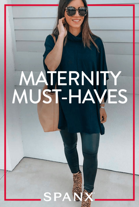 girl in sunglasses wearing black dress and black leggings, white overlay that says maternity must- haves