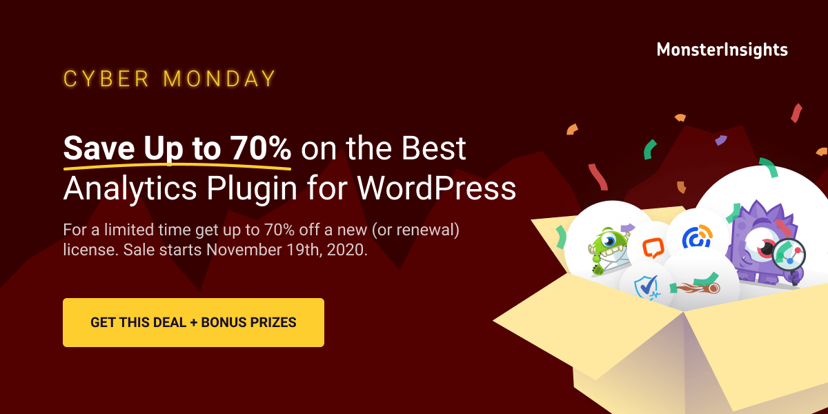MonsterInsights, WordPress Plugin Cyber Monday Sales