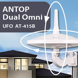"""ANTOP Dual Omni UFO """"Complete Coverage"""" Reception Outdoor HDTV Antenna AT-415B. Special Introductory Price Available. Shop Now"""