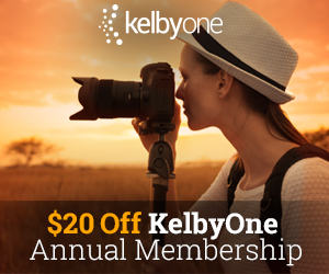 $20 off annual membership. KelbyOne Online Photography, Photoshop, and Lightroom Classes.