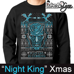 """Game of Thrones Night King """"Winter is Coming"""" Ugly Xmas Sweater by Luke&Lynn Clothing"""