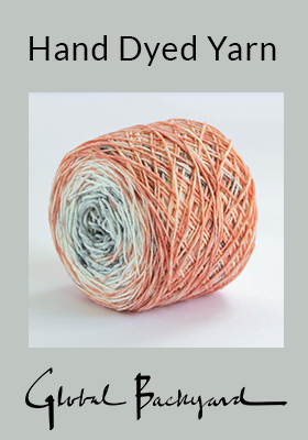 Coral and Gray Hand Dyed Yarn Cake