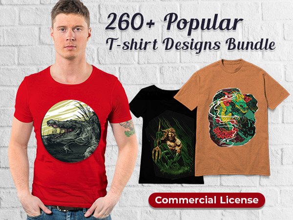 The Popular T-shirt Designs Bundle Consisting Of 260+ Trending Designs Based On Unique Categories
