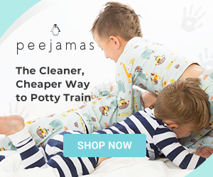 "Advertisement photo of Peejamas on customers in two prints, including arrows and animals and blue and white stripes with caption ""Peejamas - The Cleaner, Cheaper Way to Potty Train""."