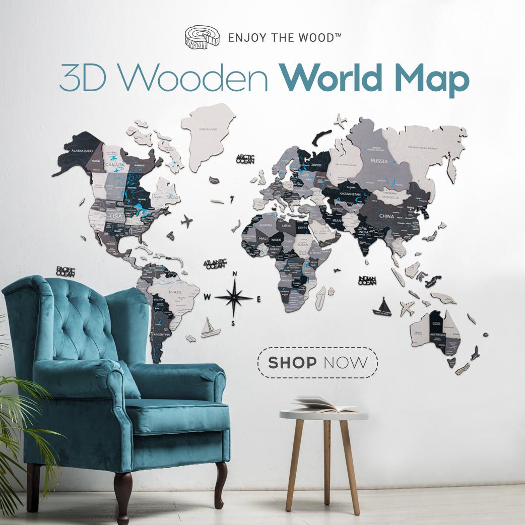 3D MULTILAYERED WORLD MAP Enjoy The Wood