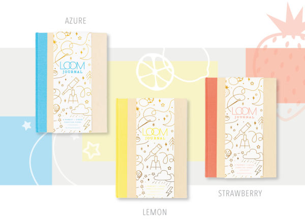 Promptly Journals in azure, lemon and strawberry.