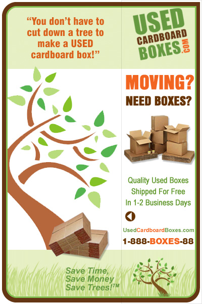 Get quality used, new, misprinted and overrun cardboard boxes at UsedCardboardBoxes.com. FREE SHIPPING. 1-2 business day delivery, depending on your location.