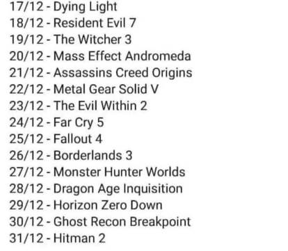 Leaked list for Epic's 15 free games this December. Last year's leak was more or less accurate. Get