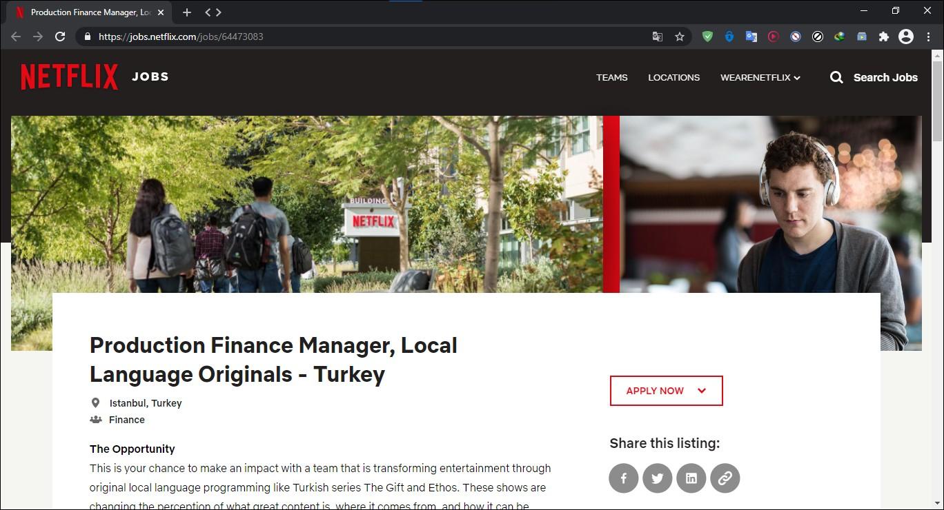 netflix türkiye iş başvurusu