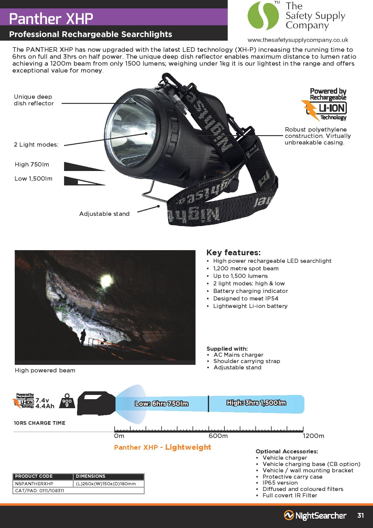 Nightsearcher Panther Rechargeable Searchlight