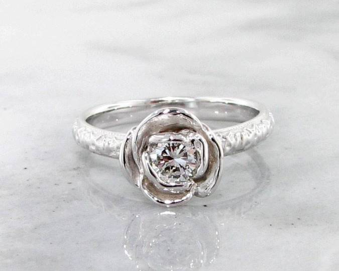 Diamond White Gold Ring  Stacking Solitaire Rose   Wexford Jewelers Signature Rose Diamond White Gold Ring  Stacking Solitaire Rose