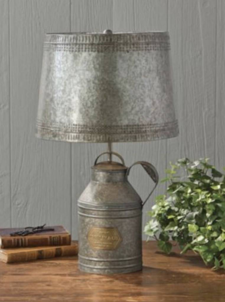 Antique Milk Can Lamp With Tin Shade Country Farmhouse