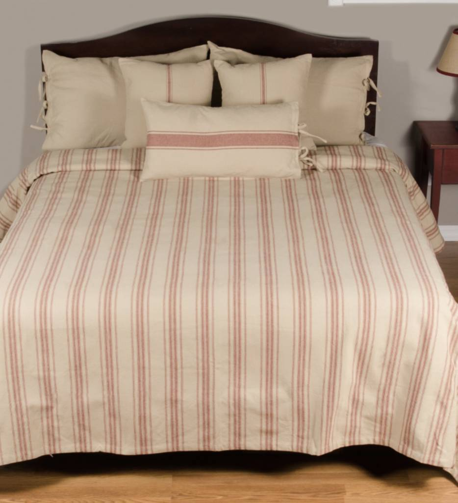 Grain Sack Stripe Queen Bed Cover Oatmeal Amp Barn Red