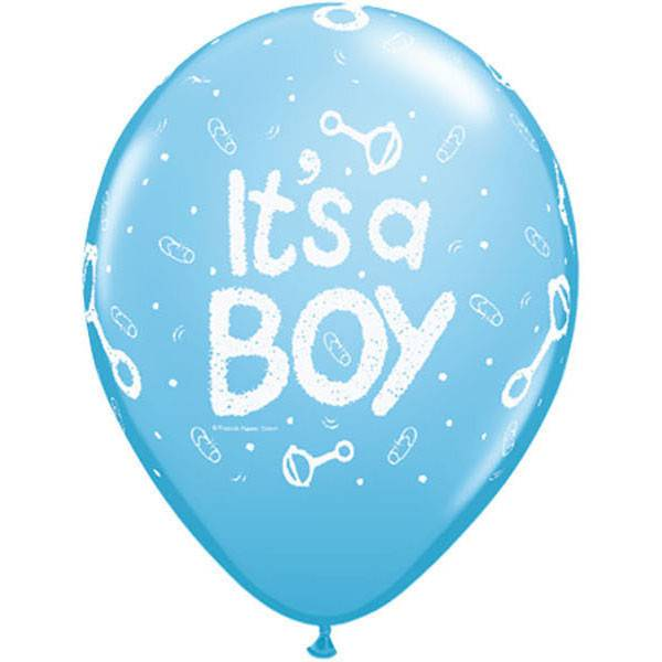 Latex Balloon Its A Boy Rattle Pale Blue 1pkg 11