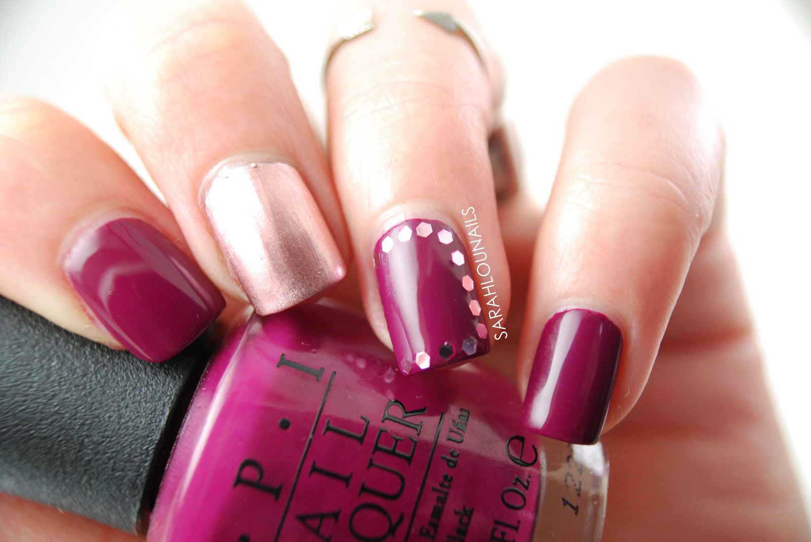 Rose Gold Maroon Nails 1