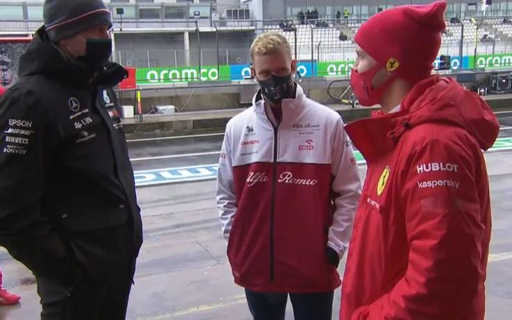 Formula 1, GP Eifel al Nurburgring: chiacchierata tra Vettel, Wolff e  Schumacher.