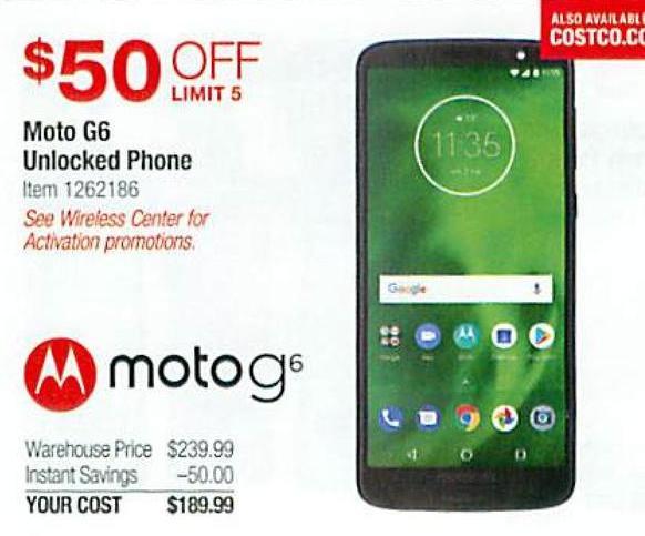 Costco Wholesale Black Friday: Moto G6 Unlocked Phone for ... on Costco Phone Deals id=30917