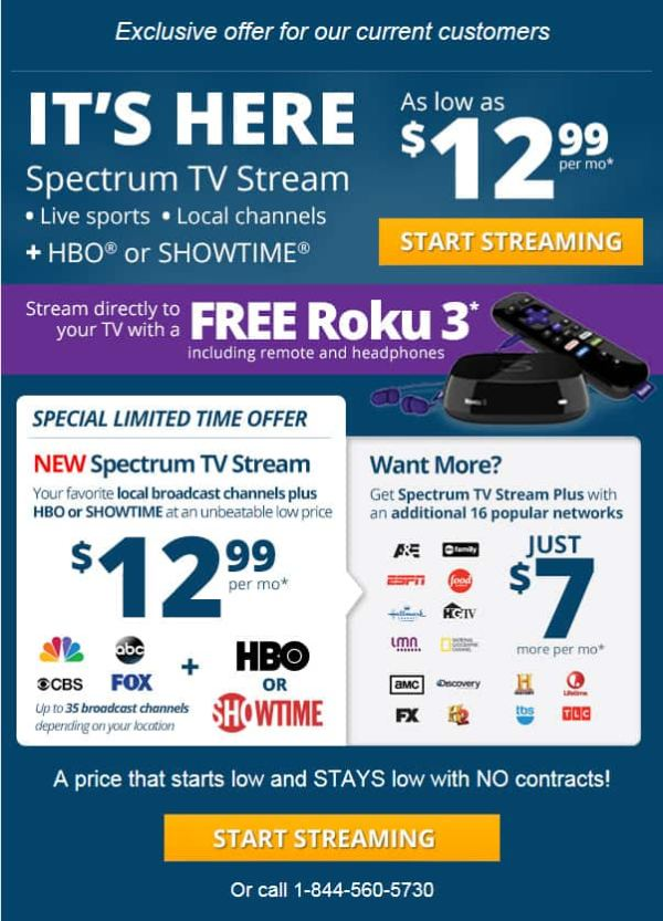 **FREE ROKU 3 with Charter Spectrum TV stream deal $12.99 ...