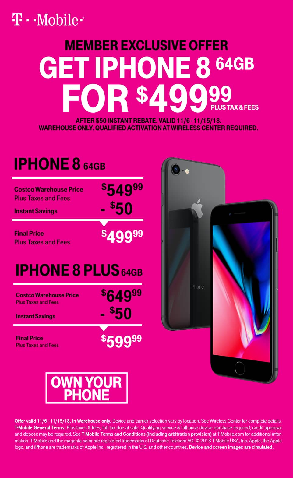 Costco - iPhone 8 64GB T-Mobile $499 (New) - Slickdeals.net on Costco Phone Deals id=93143