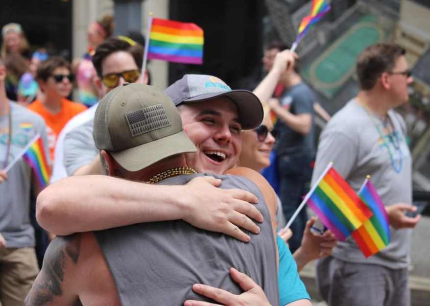"Image result for This Guy Offered ""Free Dad Hugs"" At A Pride Parade And People Really Needed Them"