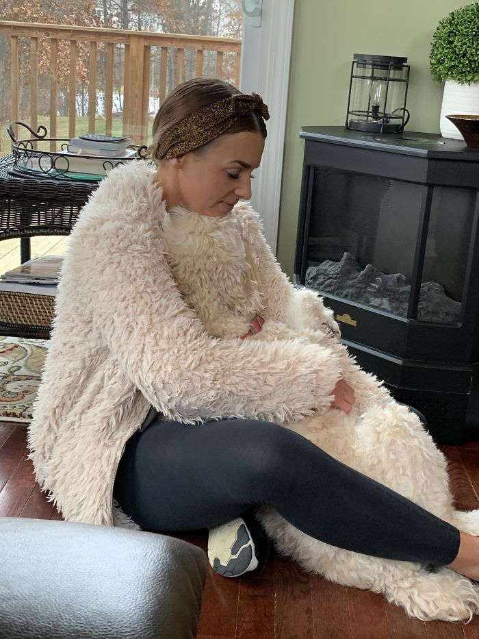 My Cousin And Her Goldendoodle Matching Her Jacket