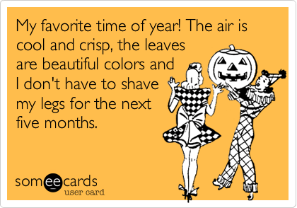 someecards.com - My favorite time of year! The air is cool and crisp, the leaves are beautiful colors and I don't have to shave my legs for the next five months.
