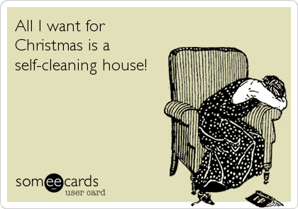 Funny Cry for Help Ecard: All I want for Christmas is a self-cleaning house!