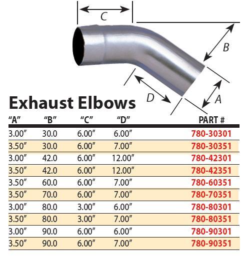 dynatech 780 30351 exhaust elbow mandrel bend 30 deg 3 1 2