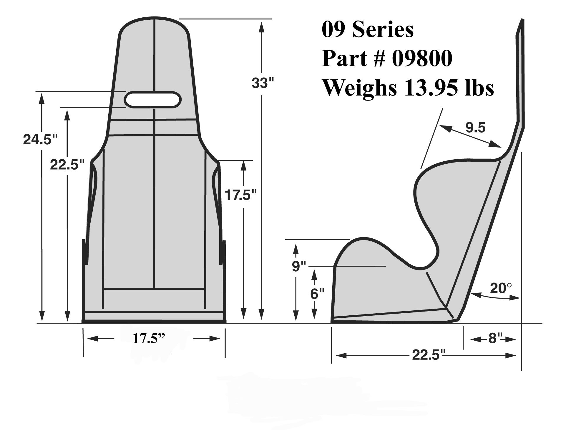 Kirkey 09 Series 17 5 Wide Economy 20 Deg Layback Racing