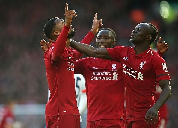 Goals from Wijnaldum (far left), Mane (far right) and Salah sealed all three points on this occasion