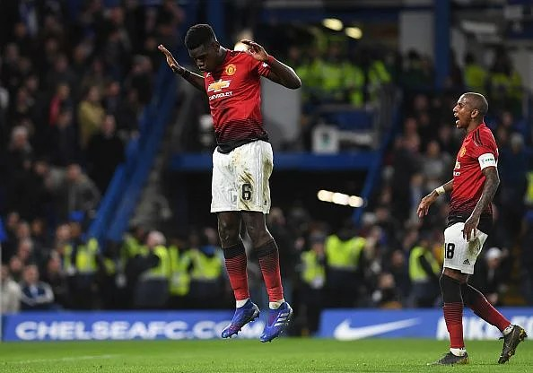 Pogba celebrates his goal to double United's lead on the stroke of half-time