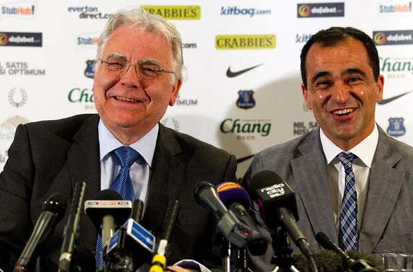 New Everton manager Roberto Martinez (R) and Everton Chairman Bill Kenwright