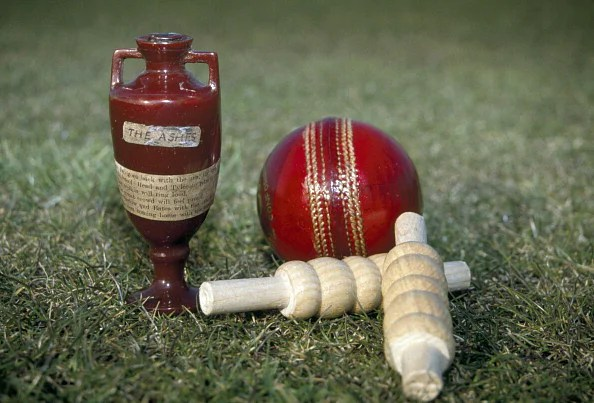 The Ashes urn which is the trophy that England and Australia compete for in cricket Test matches, 1st  May 2011. The urn is photographed adjacent to a cricket ball and a pair of bails, to show a comparison of their respective sizes. (Getty Images)