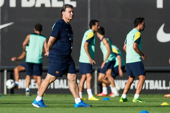 Manager Gerardo 'Tata' Martino of FC Barcelona looks on during a training session at the Sant Joan Despi Sport Complex on July 29, 2013 in Barcelona, Spain.  (Getty Images)
