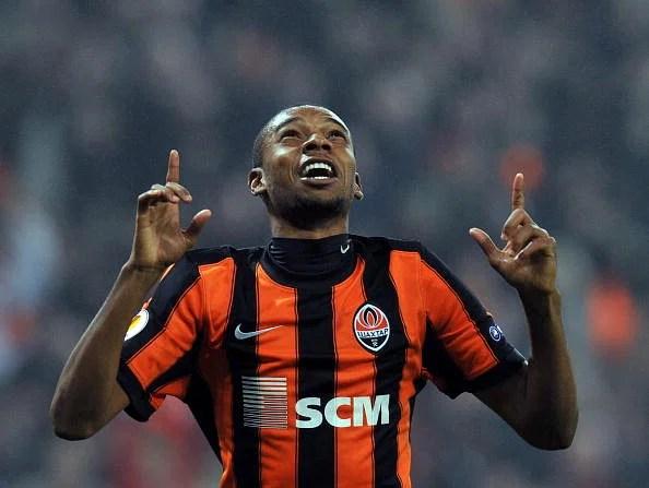 Fernandinho of FC Shakhtar Donetsk react