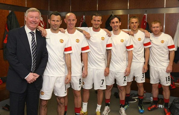 Manchester United's famoys Class of '92, with manager Sir Alex Ferguson