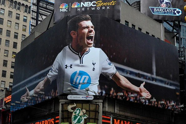 Tottenham's Gareth Bale Takes Over Times Square on Premier League Billboard