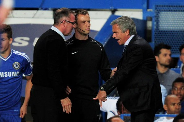Paul Lambert(L) and Jose Mourinho(R) clash