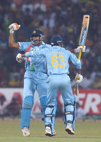 Brother in arms:  Yusuf (L) and Irfan Pathan (R) celebrate India's win in the only T20I vs. Sri Lanka at the R Premadasa in Colombo on February 10, 2009. (Getty Images)