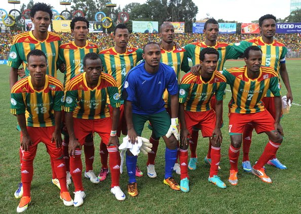 Ethiopia poses before their 2014 FIFA World Cup qualifier vs. South Africa on June 16, 2013 in Addis Ababa. (Getty Images)