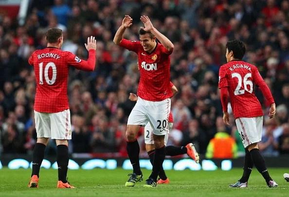 Manchester United stalwarts Wayne Rooney, Robin van Persie and Shinji Kagawa.