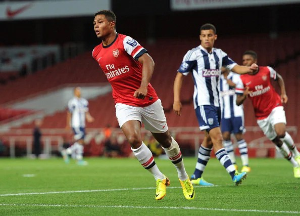 Serge Gnabry celebrates after scoring a goal for Arsenal during the U21 Premier League match between Arsenal U21 and West Bromwich Albion U21 at Emirates Stadium on September 12, 2013 in London, England.  (Getty Images)