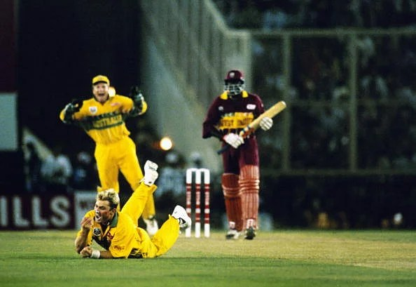 Courtney Browne of the West Indies is caught and bowled by Shane Warne